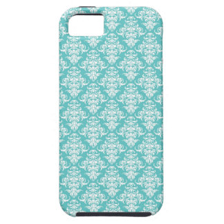 中型の青いダマスク織のヴィンテージの壁紙パターン iPhone SE/5/5s ケース