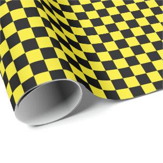 中型の黒くおよび黄色の点検の包装紙 ラッピングペーパー