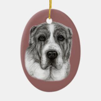中央アジアの羊飼い犬の絵画 セラミックオーナメント