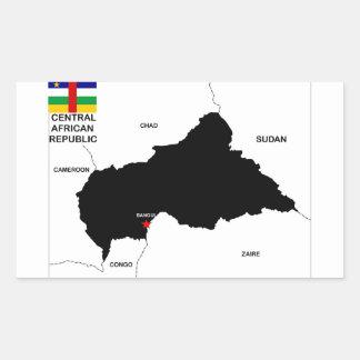 中央アフリカの政治地図の旗 長方形シール