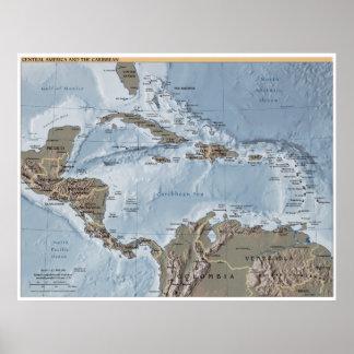 中央アメリカおよびカリブのな地図 ポスター