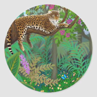 中央アメリカのジャングルのステッカーのヒョウ ラウンドシール
