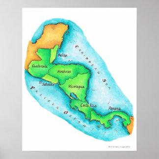 中央アメリカの地図 ポスター