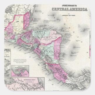 中央アメリカ(1864年)のヴィンテージの地図 スクエアシール