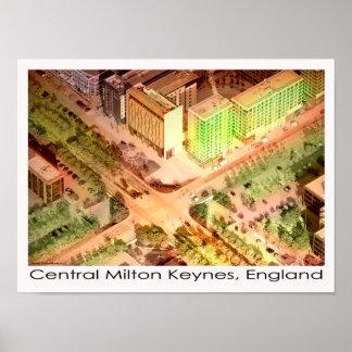 中央ミルトンKeynes空気ポスタープリント ポスター