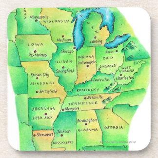 中央米国の地図 コースター