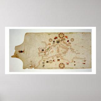 中央Mediterraneaのミニチュア航海のな地図 ポスター
