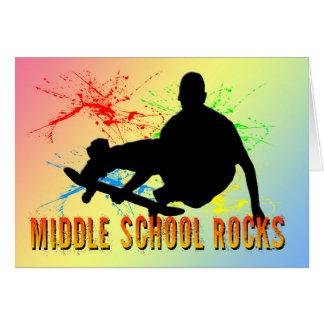 中学校の石-スケートボーダー グリーティングカード