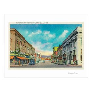 中心のStreetPocatelloからの東の眺め、ID ポストカード
