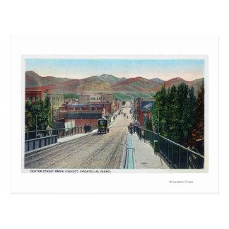 中心のStreetPocatelloの陸橋の眺め、ID ポストカード