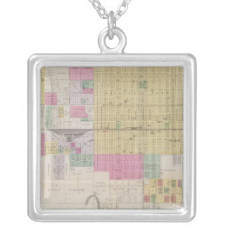 中心地の地図、カンザス シルバープレートネックレス