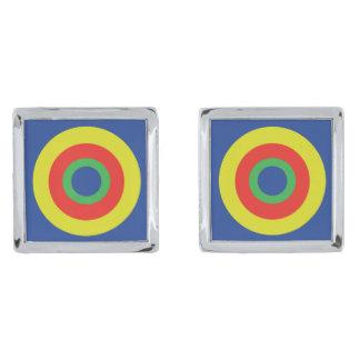 中心点の正方形のカフスボタン シルバー カフスボタン