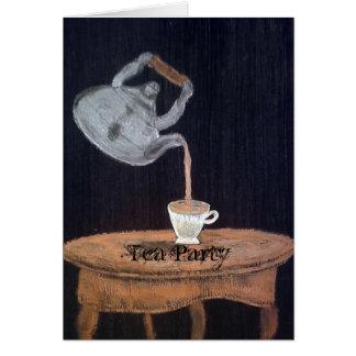 中断される|ティーポット|茶|パーティ グリーティングカード
