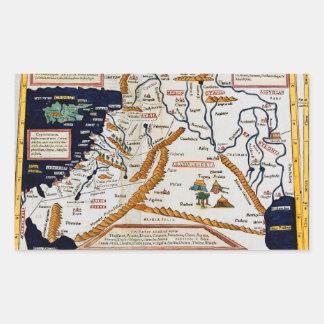 中東のヴィンテージの16世紀な地図 長方形シール