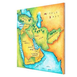 中東の地図 キャンバスプリント