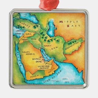 中東の地図 メタルオーナメント
