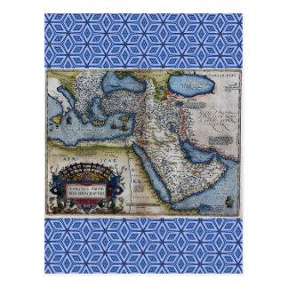 中東の旧式な地図 ポストカード