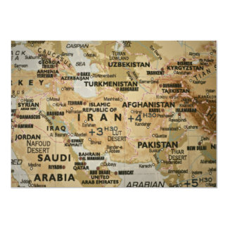 中東地図の招待状 カード