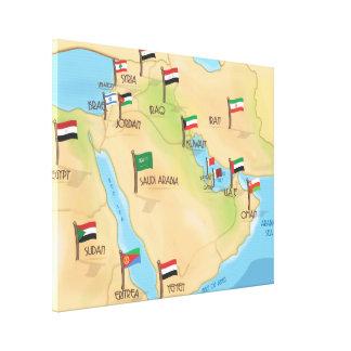 中東地図 キャンバスプリント