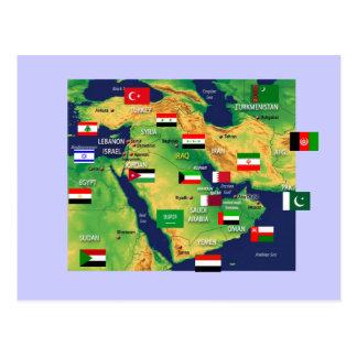 中東地図 ポストカード
