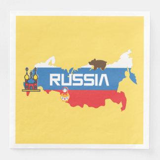 中白く青および赤旗が付いているロシアの地図