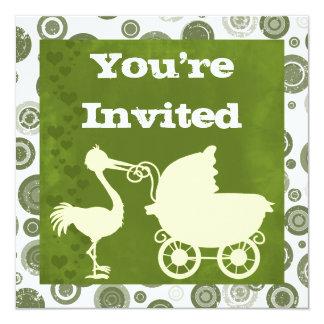 中立こうのとりおよびキャリッジベビーシャワーの招待状 カード