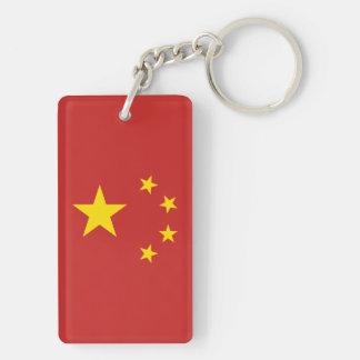 中華人民共和国の旗-中华人民共和国国旗 長方形(両面)アクリル製キーホルダー