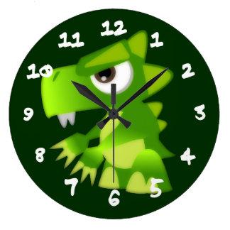 中間のベビーのドラゴン ラージ壁時計