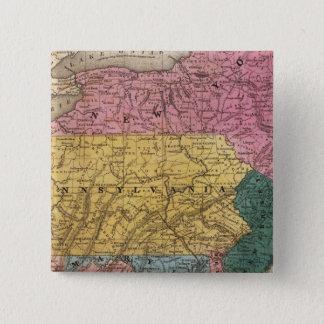 中間の州の地図 5.1CM 正方形バッジ
