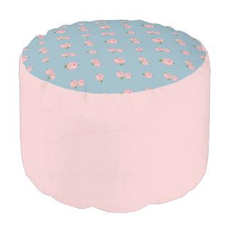 中間青いのピンクのバラパターン プーフ