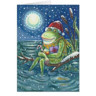 丸太のクリスマスの挨拶状のカエル カード