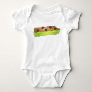 丸太のセロリのピーナッツバターのピクニック食糧の蟻 ベビーボディスーツ