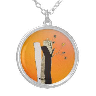 丸太の花 シルバープレートネックレス