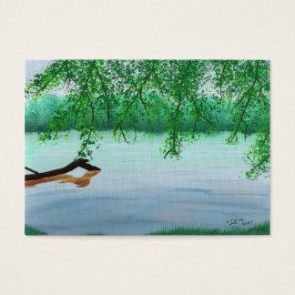 丸太の芸術家のトレーディングカードとの川場面 名刺