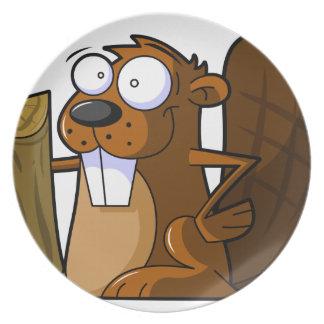 丸太を握るかわいい漫画のビーバーのキャラクター プレート