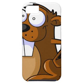 丸太を握るかわいい漫画のビーバーのキャラクター iPhone SE/5/5s ケース