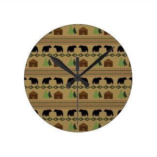 丸太小屋 ラウンド壁時計