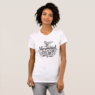 丸首のTシャツ-ハートの人魚 Tシャツ