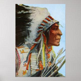 主なオオカミローブのブラックフット族のネイティブアメリカン ポスター