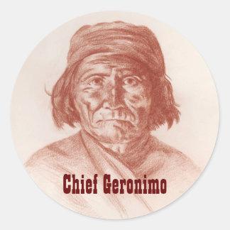 主なGeronimoのアパッシュのインドの歴史的ポートレート ラウンドシール