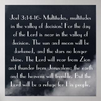 主の日は聖書の詩のJoelの近い3:14です ポスター