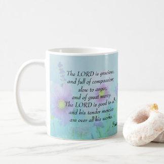 主は優雅です: 賛美歌の145:8,9 コーヒーマグカップ