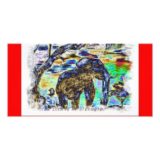 主は私の強さカラフルな象です カード