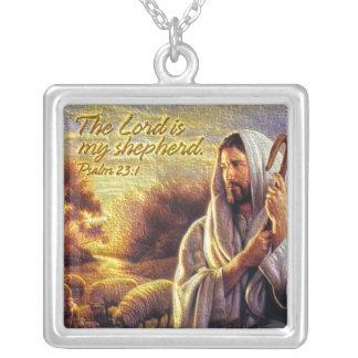 主は私の羊飼いの賛美歌の23:1のネックレスです シルバープレートネックレス