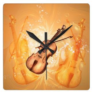 主ノートが付いているバイオリン弓が付いているすばらしいバイオリン スクエア壁時計