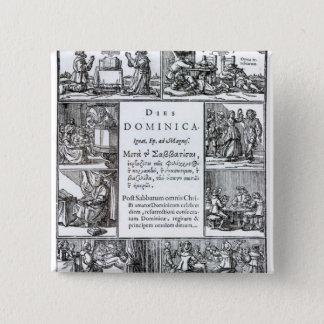 主Day 1639年の 5.1cm 正方形バッジ