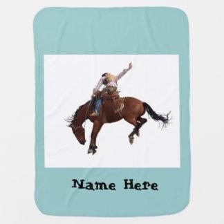 乗馬のカウボーイ ベビー ブランケット