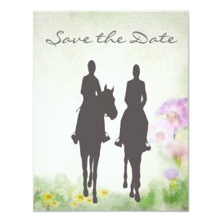 乗馬のカップルの結婚式の保存日付 カード