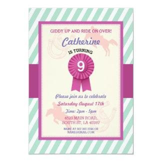 乗馬のパーティーの招待のストライプのミントのピンクの招待 カード