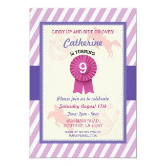 乗馬のパーティーの招待のストライプの子馬の招待状 カード
